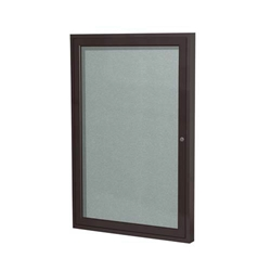 "Ghent 18"" x 24"" 1-Door Bronze Aluminum Frame Enclosed Vinyl Tackboard - Silver"