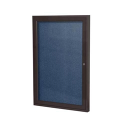"Ghent 18"" x 24"" 1-Door Bronze Aluminum Frame Enclosed Vinyl Tackboard - Navy"