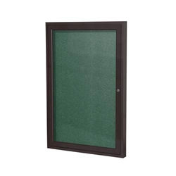 "Ghent 18"" x 24"" 1-Door Bronze Aluminum Frame Enclosed Vinyl Tackboard - Spruce"