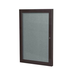 "Ghent 18"" x 24"" 1-Door Bronze Aluminum Frame Enclosed Vinyl Tackboard - Stone"