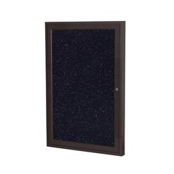 "Ghent 24"" x 36"" 1-Door Bronze Aluminum Frame Enclosed Recycled Rubber Tackboard - Confetti"