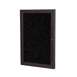 "Ghent 24"" x 36"" 1-Door Bronze Aluminum Frame Enclosed Recycled Rubber Tackboard - Tan Speckled"