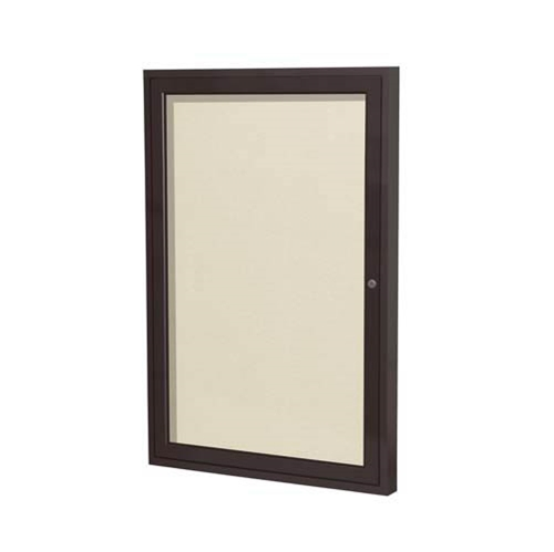 "Ghent 24"" x 36"" 1-Door Bronze Aluminum Frame Enclosed Vinyl Tackboard - Ivory"