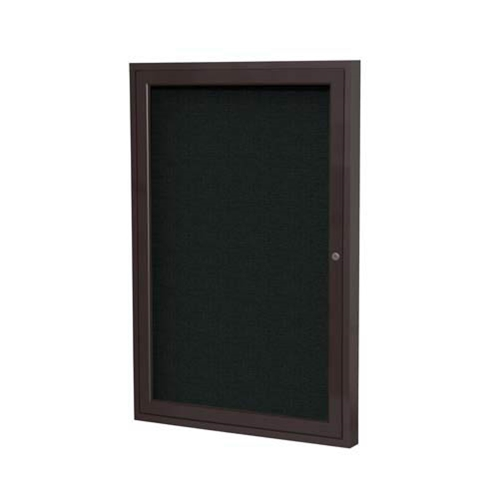 "Ghent 3"" x 36"" 1-Door Bronze Aluminum Frame Enclosed Fabric Tackboard - Black"