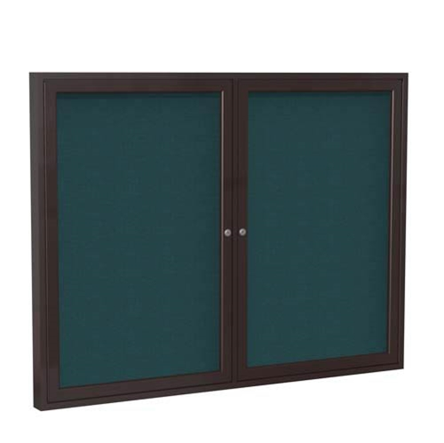 "Ghent 48"" x 36"" 2-Door Bronze Aluminum Frame Enclosed Fabric Tackboard - Blue"