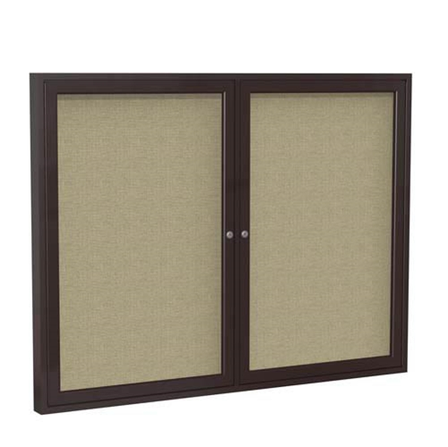 "Ghent 6"" x 48"" 2-Door Bronze Aluminum Frame Enclosed Fabric Tackboard - Beige"