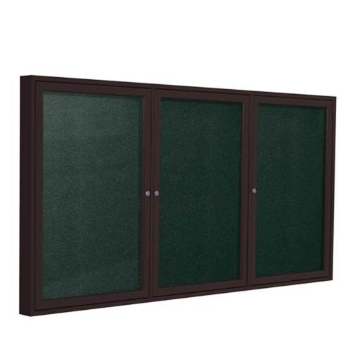 "Ghent 72"" x 36"" 3-Door Bronze Aluminum Frame Enclosed Vinyl Tackboard - Ebony"