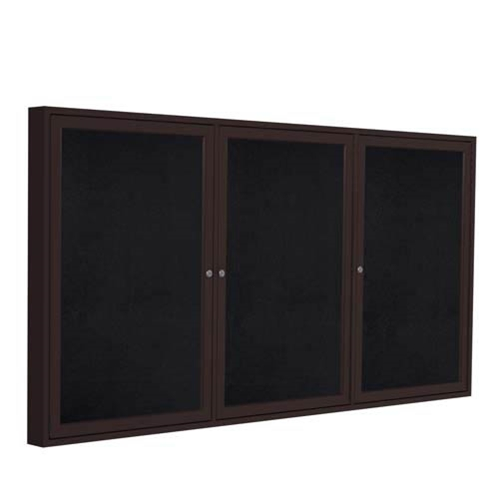 "Ghent 72"" x 48"" 3-Door Bronze Aluminum Frame Enclosed Recycled Rubber Tackboard - Black"