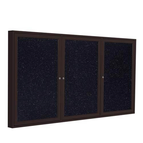 "Ghent 96"" x 48"" 3-Door Bronze Aluminum Frame Enclosed Recycled Rubber Tackboard - Confetti"