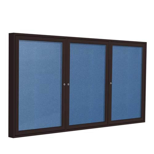 "Ghent 96"" x 48"" 3-Door Bronze Aluminum Frame Enclosed Vinyl Tackboard - Ocean"
