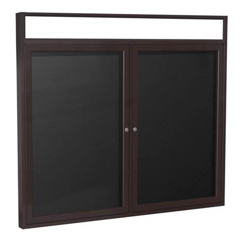 "Ghent 6"" x 36"" 2-Door Bronze Alum Frame w/Illuminated Headliner Enclosed Flannel Letterboard - Black"