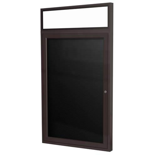 "Ghent 24"" x 36"" 1-Door Bronze Alum Frame w/ Headliner Enclosed Vinyl Letterboard - Black"