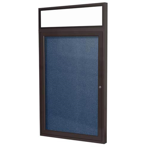 "Ghent 3"" x 36"" 1-Door Bronze Alum Frame w/Illuminated Headliner Enclsd Vinyl Tackboard - Navy"