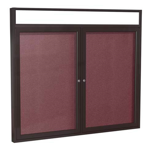 "Ghent 48"" x 36"" 2-Door Bronze Alum Frame w/Illuminated Headliner Enclsd Vinyl Tackboard - Berry"