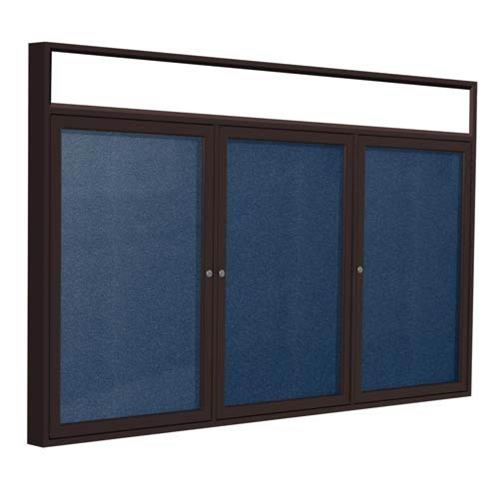 "Ghent 72"" x 36"" 3-Door Bronze Alum Frame w/Illuminated Headliner Enclsd Vinyl Tackboard - Navy"