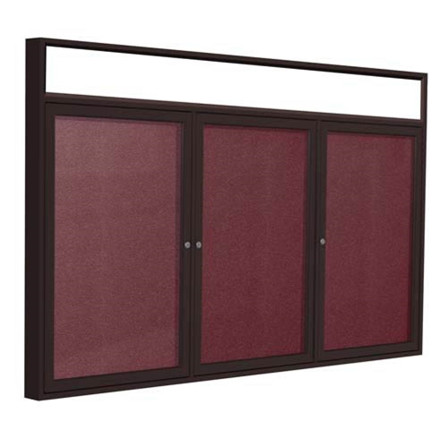 "Ghent 96"" x 48"" 3-Door Bronze Alum Frame w/ Headliner Enclosed Vinyl Tackboard - Berry"