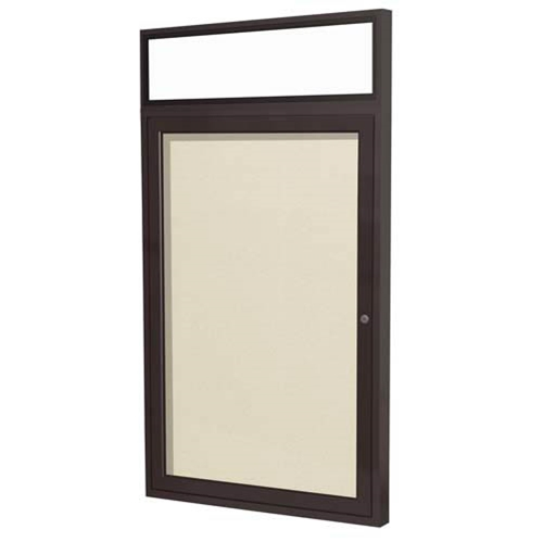 "Ghent 24"" x 36"" 1-Door Bronze Alum Frame w/ Headliner Enclosed Vinyl Tackboard - Ivory"