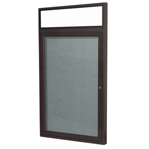 "Ghent 36"" x 36"" 1-Door Bronze Alum Frame w/ Headliner Enclosed Vinyl Tackboard - Stone"