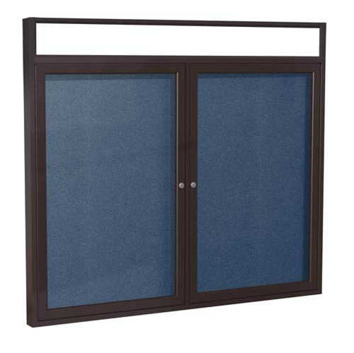 "Ghent 48"" x 36"" 2-Door Bronze Alum Frame w/ Headliner Enclosed Vinyl Tackboard - Navy"
