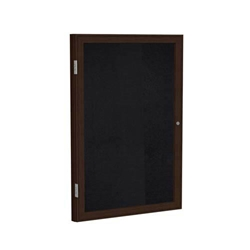 "Ghent 18"" x 24"" 1-Door Wood Frame Walnut Finish Enclosed Recycled Rubber Tackboard - Black"