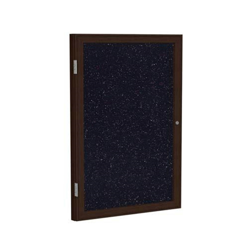 "Ghent 18"" x 24"" 1-Door Wood Frame Walnut Finish Enclosed Recycled Rubber Tackboard - Confetti"