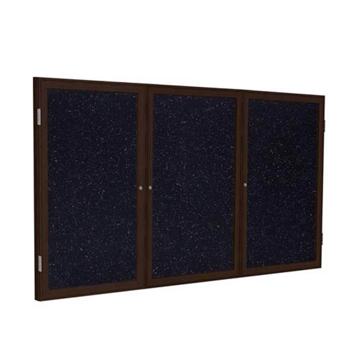"Ghent 72"" x 36"" 3-Door Wood Frame Walnut Finish Enclosed Recycled Rubber Tackboard - Confetti"