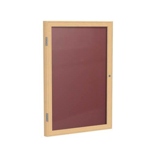 "Ghent 18"" x 24"" 1-Door Wood Frame Oak Finish Enclosed Flannel Letterboard - Burgundy"