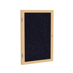 "Ghent 18"" x 24"" 1-Door Wood Frame Oak Finish Enclosed Recycled Rubber Tackboard - Confetti"