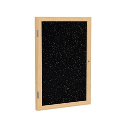 "Ghent 18"" x 24"" 1-Door Wood Frame Oak Finish Enclosed Recycled Rubber Tackboard - Tan Speckled"