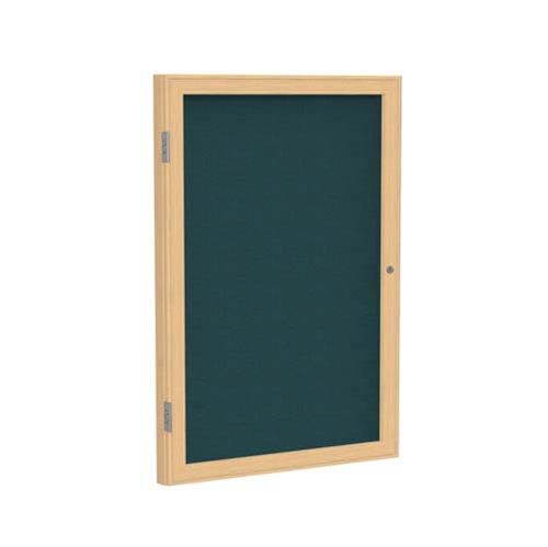 "Ghent 36"" x 36"" 1-Door Wood Frame Oak Finish Enclosed Fabric Tackboard - Blue"