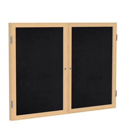 "Ghent 6"" x 36"" 2-Door Wood Frame Oak Finish Enclosed Recycled Rubber Tackboard - Black"