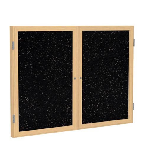 "Ghent 6"" x 48"" 2-Door Wood Frame Oak Finish Enclosed Recycled Rubber Tackboard - Tan Speckled"