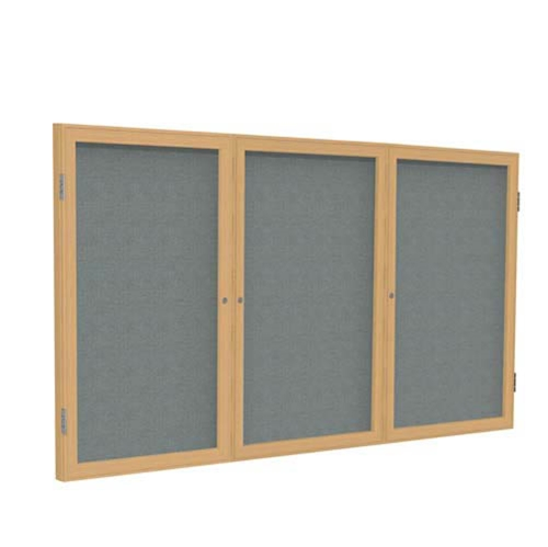 "Ghent 72"" x 36"" 3-Door Wood Frame Oak Finish Enclosed Fabric Tackboard - Gray"