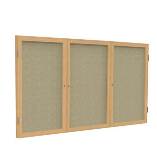 "Ghent 72"" x 48"" 3-Door Wood Frame Oak Finish Enclosed Fabric Tackboard - Beige"
