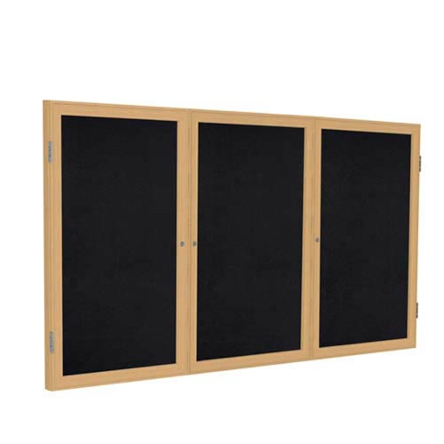 "Ghent 72"" x 48"" 3-Door Wood Frame Oak Finish Enclosed Recycled Rubber Tackboard - Black"
