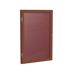 "Ghent 18"" x 24"" 1-Door Wood Frame Cherry Finish Enclosed Flannel Letterboard - Burgundy"