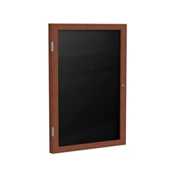 "Ghent 18"" x 24"" 1-Door Wood Frame Cherry Finish Enclosed Flannel Letterboard - Black"