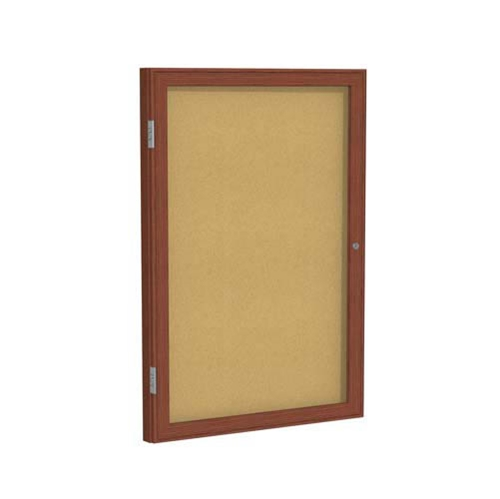 "Ghent 18"" x 24"" 1-Door Wood Frame Cherry Finish Enclosed Tackboard - Natural Cork"