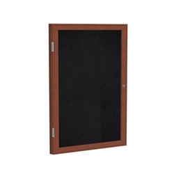 "Ghent 24"" x 36"" 1-Door Wood Frame Cherry Finish Enclosed Recycled Rubber Tackboard - Black"