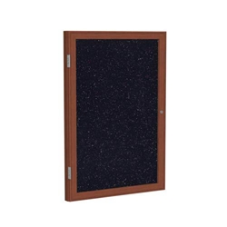 "Ghent 24"" x 36"" 1-Door Wood Frame Cherry Finish Enclosed Recycled Rubber Tackboard - Confetti"