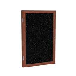 "Ghent 24"" x 36"" 1-Door Wood Frame Cherry Finish Enclosed Recycled Rubber Tackboard - Tan Speckled"