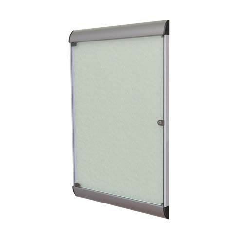 "Ghent 26.5"" x 42.125"" 1-Door Silhouette Enclosed Tackboard, Satin Frame w/ Vinyl Fabric - Silver"