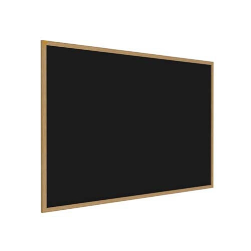 "Ghent 36"" x 24"" Wood Frame, Oak Finish Recycled Rubber Tackboard - Black"