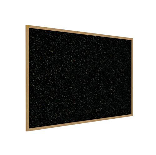 "Ghent 60.5"" x 36.5"" Wood Frame, Oak Finish Recycled Rubber Tackboard - Confetti"