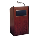 Aristocrat Full Floor Lectern/Podium with Sound and 2 Built-in Shelves in Mahogany - 6010MY
