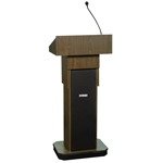 Adjustable Height Executive Sound Column Full Floor Lectern with Walnut Finish Amplivox,S505AWT