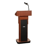 Adjustable Height Executive Sound Column Full Floor Lectern with MediumOak Finish Amplivox,S505AMO