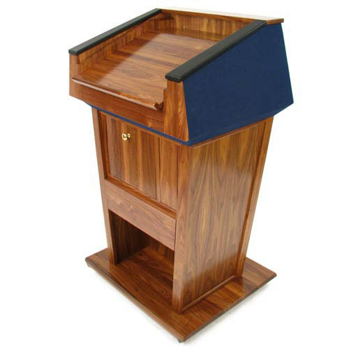 Amplivox Patriot Plus Solid Hardwood Lectern with Cherry Finish/Red Fabric-without Sound
