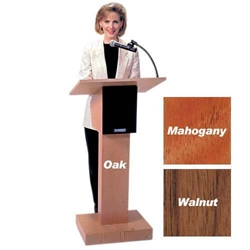 Adjustable Height Wireless Executive Sound Column Lectern with Mahogany Finish Amplivox,SW505A05MH