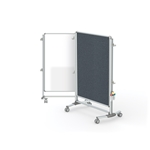 "Ghent-NEX223MFP-91 - 57.38""x40.38"" Nexus Jr. Partition-2-Sided Mobile Porcln Magn WB/ Fabric TB Gray"